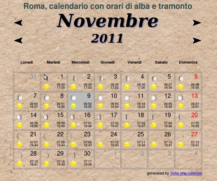 Calendario Alba Tramonto 2020.Calendario Con Orari Di Alba E Tramonto A Roma